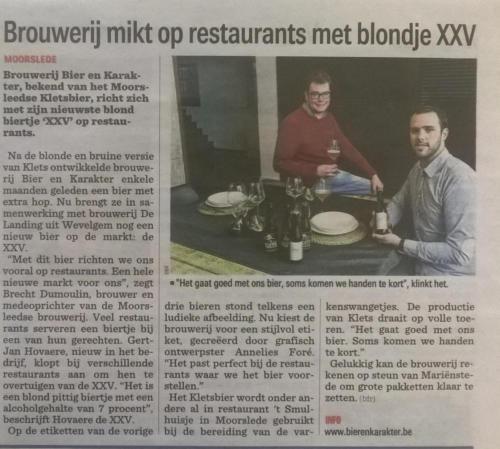 Brouwerij mikt op restaurants met blondje XXV