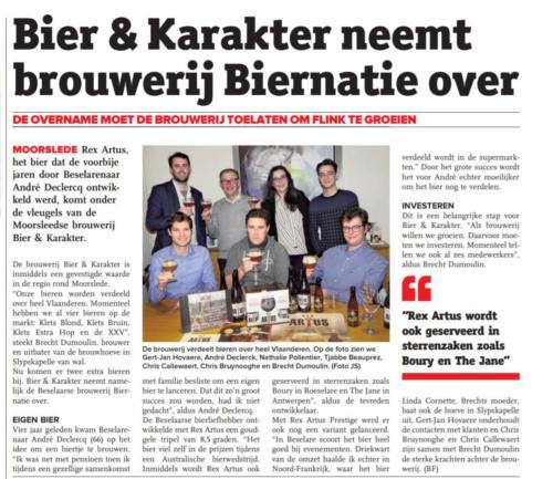 Bier & Karakter neemt brouwerij Biernatie over