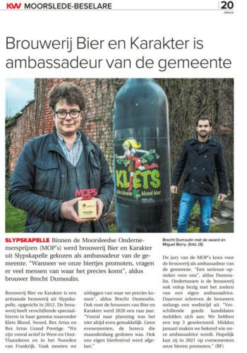 Brouwerij Bier en Karakter is ambassadeur van de gemeente